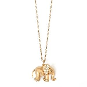J. Crew Crystal Gold Elephant Charm Necklace 30""